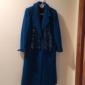 Vintage Women's Winter Wool Teal Petite Coat